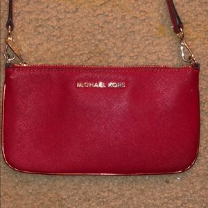 Red Michael kors cross body purse